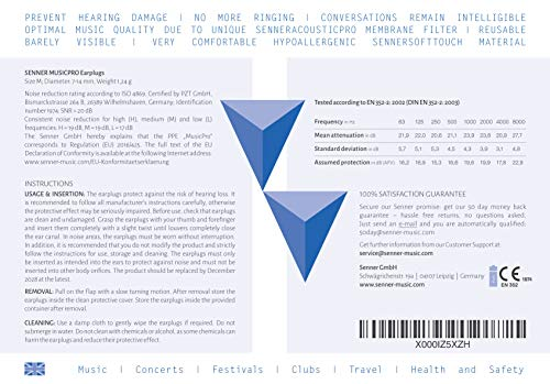 Senner MusicPro Gehörschutz Ohrstöpsel mit Alubehälter. Ideal für Musik, Konzert, Disco und Festival, clear/transparent - 8