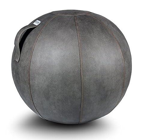 VLUV VEEL Lederimitat Sitzball 65cm Schlamm Grau - Hochwertiger Sitzball / Gymnastikball für Deine Gesundheit und Dein Rückentraining - Gesundes Sitzen Zuhause und im Büro - Made in (175 Sitz)