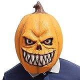 MOGOI Kürbis-Maske Halloween, Deluxe Neuheit Halloween-Kostüm Party Requisiten Latex-Kürbis-Kopf Maske für Erwachsene, Halloween Gruselmasken Cosplay für Halloween, Kostüm, Party gelb