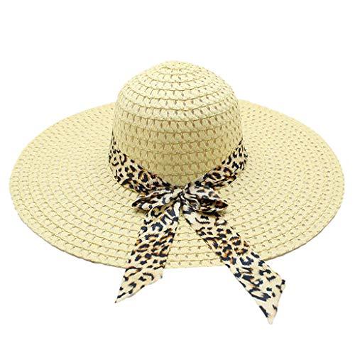 Poachers Hut,Frauen Leoparddruck GroßE Krempe Strohhut Sonne Floppy Breiter Krempe Hut Strandkappe