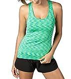 LAPASA Tank Top Donna Canotta Sportiva Yoga Fitness Running -Vita Dimagrente L06 (XS(Seno 75-80 cm), Verde Spazio-colorante)