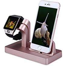 Soporte de Cargador para Apple Watch, FACEVER Soporte y Estación de Carga para Apple iWatch Series 3/2/1, iPhone X 8 7 Plus 6S, iPod -Rosa oro
