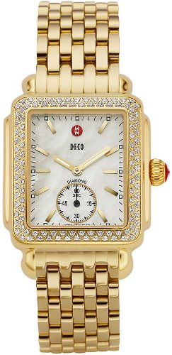 Michele Deco 16 Diamond Gold Ladies Watch MWW06V000003 Wrist Watch (Wristwatch)