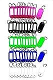 50 Stück Schlüsselanhänger beschriftbar Zum Beschriften, Schlüsselschilder beschriftbar ID Kofferanhänger Kofferetiketten aus Kunststoff mit Split Ring