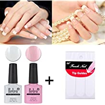 Belen Kit de Uñas Manicura Francesa Esmalte de Gel de 2pcs con Pegatina Shellac Laca UV LED Color Semipermanente Soak-off