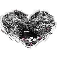 Un'ampia Blumenoase / a forma di cuore bianco nero in formato adesivo aspetto, parete o (Fiore Fontana Parete)