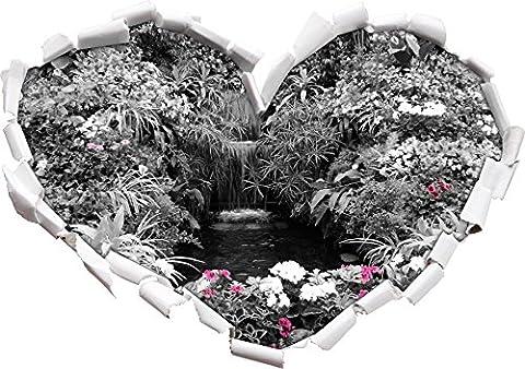 forme large Blumenoase noir / blanc coeur dans le regard 3D, mur ou une porte (Fiore Fontana Parete)
