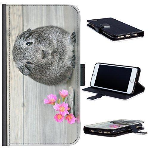 Hairyworm - BG0233 Meerschweinchen mit rosa Blüten LG X cam Leder Klapphülle Etui Handy Tasche, Deckel mit Kartenfächern, Geldscheinfach und Magnetverschluss. LG X cam Fall