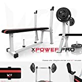 We R Sports Flat Weight Bench with Rack and Plate Holder - White
