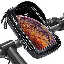 """TURATA Fahrrad Lenkertasche Wasserdicht Rahmentaschen Multifunktional Motorrad Handyhalterung für 6"""" Handy, Personalausweis, Bankkarte, Kopfhörer -Schwarz"""