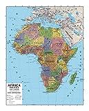Papel geográfico mural Africa 100 x 140 bifacial física y política
