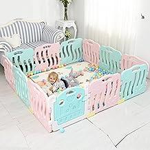 Baby Playpen Kids Activity Center Seguridad Jugar Yard Home Indoor Outdoor, Opcional Multi-size (Color : Pink+blue, Tamaño : 196*196cm(11+1))