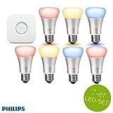 Philips Hue LED Lampe 10W A60 E27 3-er Starter Set inkl. Bridge + 4x Erweiterung = 7 Leuchtmittel, app-gesteuert, dimmbar, 16 Mio Farben