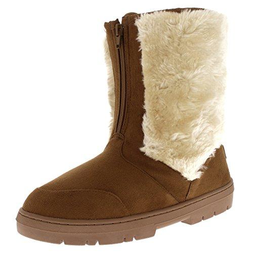 Braune Winter-ski-stiefel (Holly Damen Kunstpelz Winter Warm Gemütlich Ski Schnee Regen Mode Mittelkalb Stiefel - Bräunen - UK4/EU37 - AEA0508)