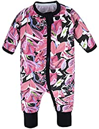 304a1ddb05be BIG ELEPHANT Baby Girls 1 Piece Long Sleeve Pajama Graphic Print Zipper  Romper Style H