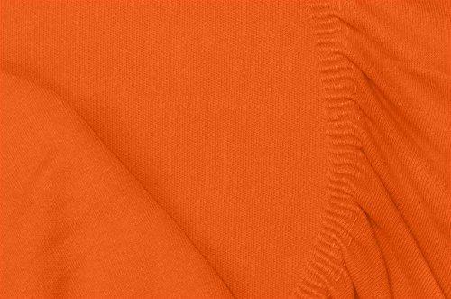 Double Jersey - Spannbettlaken 100% Baumwolle Jersey-Stretch bettlaken, Ultra Weich und Bügelfrei mit bis zu 30cm Stehghöhe, 160x200x30 Orange - 7