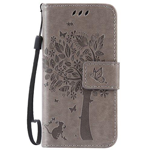 Nancen Tasche Hülle für Samsung Galaxy S4 Mini I9190 i9195 Flip Schutzhülle Zubehör Lederhülle mit Silikon Back Cover PU Leder Handytasche im Bookstyle Stand Funktion Kartenfächer Magnet