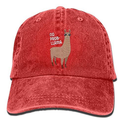 OKME Custom Basball Hat Adult Retro Washed Dyed Cotton Adjustable Jean Cap No Prob-Llama Cool Llama with Sunglasses Trucker Cap