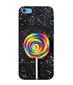 PrintVisa Designer Back Case Cover for Apple iPhone 5c (Yellow pink blue white on Black Delicious)