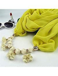 Hoverwin Bufanda Mujer, Bufanda de Gasa Perlas geométricas Flores Colgante, Bufanda de Estilo étnico
