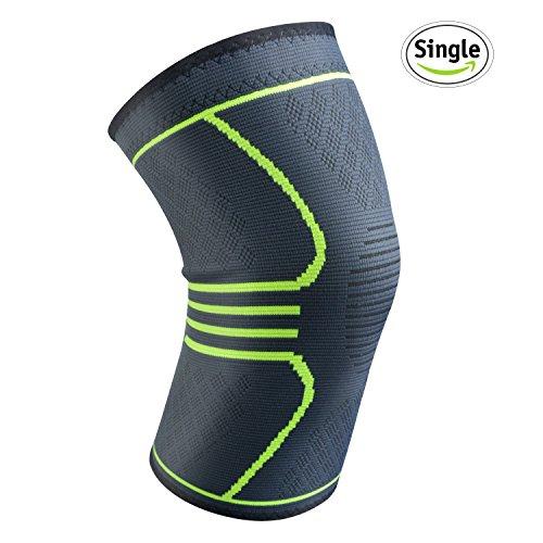 Knieschoner Elastische atmungsaktiv Kompression Kniebandage Sleeve für mehr Stabilität beim Sport und im Alltag, wirkt schmerzlindernd bei Gelenkkrankheiten wie Arthrose, Schützt beim Laufen und Joggen, für Damen und Herren, Single