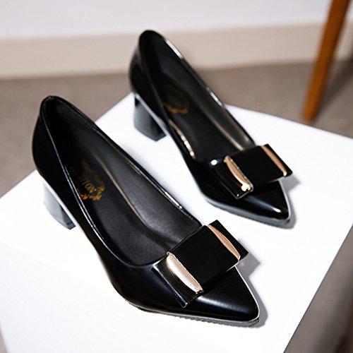 Damen Pumps Spitz Zehen Blockabsatz mit Schleife Verziert Slip on Einfach Elegant OL Freizeit Büro Atmungsaktiv Bequem Schuhe Schwarz