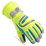 calistouk Kinder Winter Warm Ski Handschuhe kaltem Wetter winddicht wasserdicht Ski Schnee Handschuhe Motorrad Snowboard alle Finger S leuchtend grün