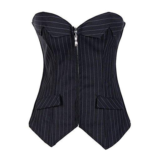 bustino corsetto burlesque sexy donna tino gotico striscia corsetto e perizoma Black