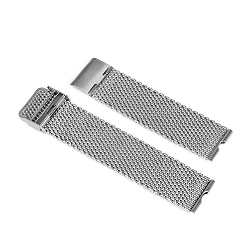 Forepin® 22 millimetri orologio in acciaio inossidabile lucidato Bracciale Mesh Watch Band fibbia regolabile cinturino in formato 22mm, compatibile con la Smart collezione di orologi Motorola Moto 360 (argento)