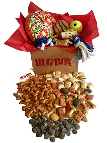 DOG HUG BOX - beautifully hand packed with popular Toys, Treats and Biscuits PLUS can come with a personalised message to give maximum WOW factor!