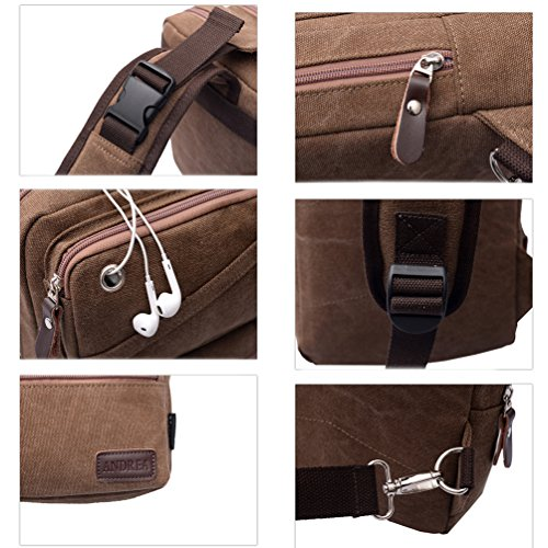 Vbiger Herren Segeltuch Umhängetasche Modische Brusttasche Cross-Body Brusttasche Trendy im Freien Kuriertaschen mit Kopfhörer Loch Kaffee
