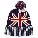 Union Jack cappelli NUOVA UNISEX UOMO DONNA BANDIERA UNION JACK INVERNO A  MAGLIA CON PON PON b8565e4538e8