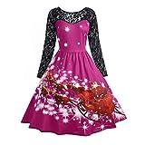 MRULIC Damen Cocktail Midi Kleider V-Ausschnitt Wickelkleid Floral Langarm Kleid Plus Size Abendkleid Weihnachtsfest Kleid Prinzessin Rock Geschenk Freundin(B4-Pink,EU-36/CN-S)