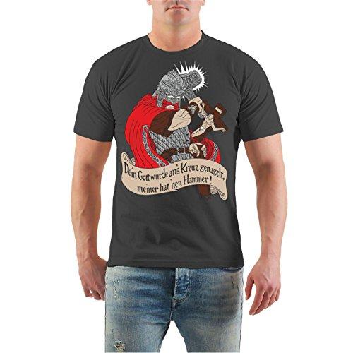 Männer und Herren T-Shirt Mein Gott hat einen Hammer Körperbetont grau