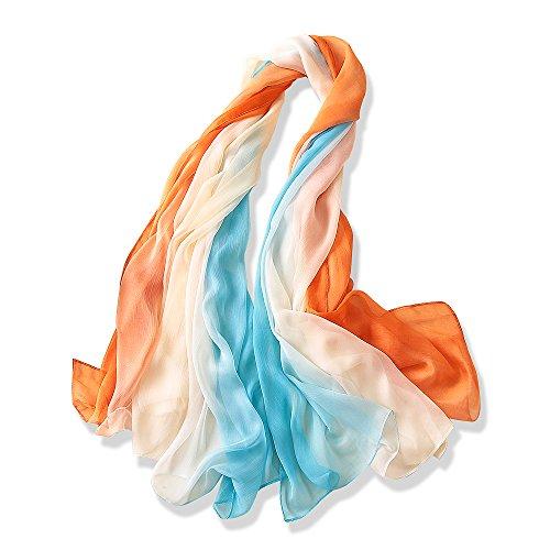 Yfzyt donna lungo sciarpa wraps chiffon scarf, signora elegante multicolore primavera estate sciarpa scialle stole coprispalle shawl soft beach scarves - gradiente di colore#7