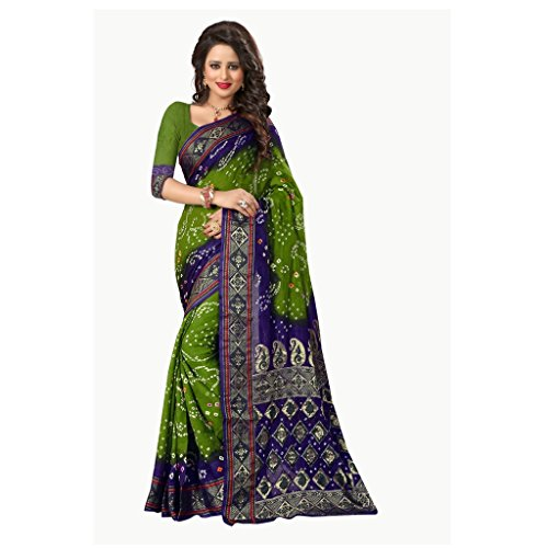 Saree (Vinayak Textiles Cotton silk GREEN & PURPLE Colored Women\'s Original Bandhani Saree)
