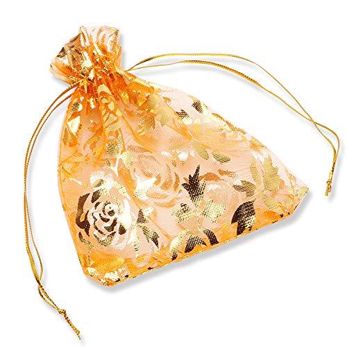 YFZYT 100 STK Organzabeutel Organza Taschen Schmuckbeutel Bonbonsbeutel Hochzeit Geschenk Geburtstag Kordelzug Süßigkeiten Schokolade Beutel Party Wedding Favor Geschenktüte - 13x18 cm, Orange