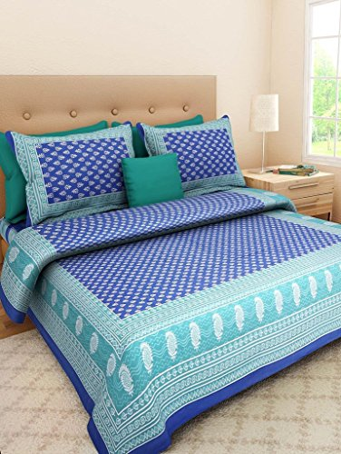 Jaipuri Style 100% Cotton Bedsheet Double Rajasthani Tradition King Size Double Bedsheet with 2 Pillow Cover.