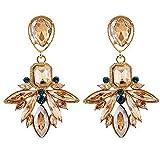 Scrox 1 Par Mujeres Niñas Pendientes Gotas de Agua Crystal Glittering Stud Pendientes Regalo (Dorado)