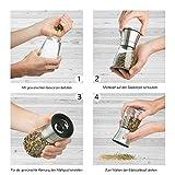 Zolmer Gewürzmühle 2er Set mit verstellbarem Keramikmahlwerk – Edle Salzmühle & Pfeffermühle aus hochwertigem Edelstahl – Auch als Chilimühle [Ohne Gewürzinhalt] - 5