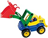 Lena 04352 - Aktive Schaufellader, ca. 33 cm, mit vollbeweglicher Spielfigur, Baustellen Spielfahrzeug für Kinder ab 2 Jahre, robuster Radlader mit Griff und funktionstüchtiger Ladeschaufel