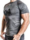Natural Athlet Fitness T-Shirt Meliert - Herren Männer Kurzarm Shirt Optimal für Fitnessstudio, Gym & Training - Passform Slim-Fit, Rundhals & Tailliert - Sport & Freizeit, Anthrazit, Gr. L