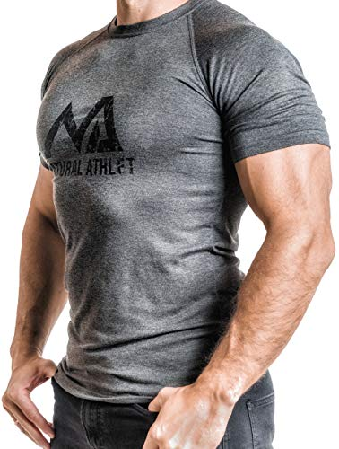 Natural Athlet Fitness T-Shirt Meliert - Herren Männer Kurzarm Shirt Optimal für Fitnessstudio, Gym & Training - Passform Slim-Fit, Rundhals & Tailliert - Sport & Freizeit, Anthrazit, Gr. S - Enge Passform T-shirt