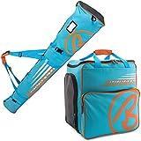 BRUBAKER Combo 'Super Champion' Ski Boot and Helmet Bag and 'Carver Champion' Ski Bag for 1 Pair of Ski up to 170 cm or 190 cm Blue / Orange