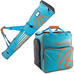 BRUBAKER Kombi Set CHAMPION – Limited Edition – Skisack und Skischuhtasche für 1 Paar Ski 170 cm oder 190 cm + Stöcke + Schuhe + Helm Blau Orange