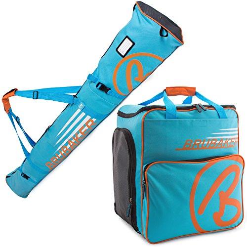 BRUBAKER Kombi Set CHAMPION - Limited Edition - Skisack und Skischuhtasche für 1 Paar Ski bis 170 cm + Stöcke + Schuhe + Helm Blau Orange
