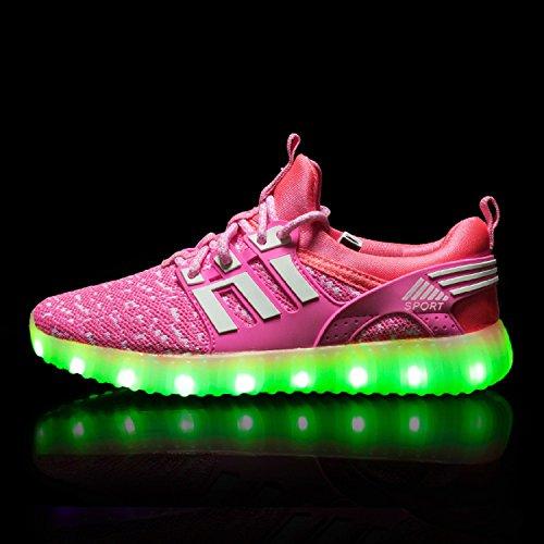 H-Mastery Unisexe enfants LED Chaussures 7 Couleur USB Charge Chaussure Lumineuse Clignotants Sports Chaussures Printemps-Été-Automne Respirante Lumineuse Chaussure Rose