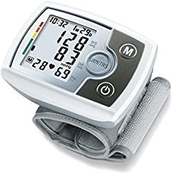 Tensiomètre électronique au poignet Sanitas SBM 03 | compact, facile à emporter | mesure tension artérielle | détecteur d'arythmie cardiaque et hypertension | circonférence du poignet de 14 à 19,5 cm