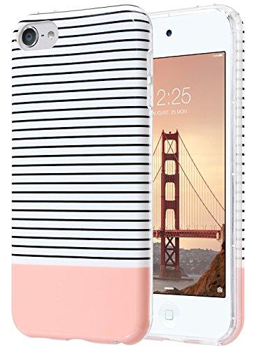 iPod Touch 5 6 Hülle, ULAK iPod Touch Case Weiche Silikon TPU Schutzhülle Stoädämpfung Bumper und Anti-Kratz PC Zurück Case Cover für iPod Touch 5 6 Generation(minimale Streifen Roségold)
