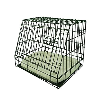 Ellie-Bo Deluxe Sloping Puppy Cage Folding Dog Crate with Non-Chew Metal Tray Fleece and Slanted Front for Car 1